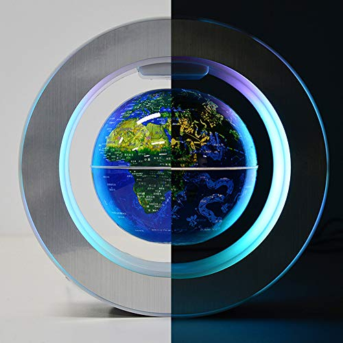 Magnetic Levitation Floating World Map with Constellations LED Light Globe 2 in 1 Anti Gravity Suspending in The Air Decoration Gadget Children's Gift (Blue 6 inch)