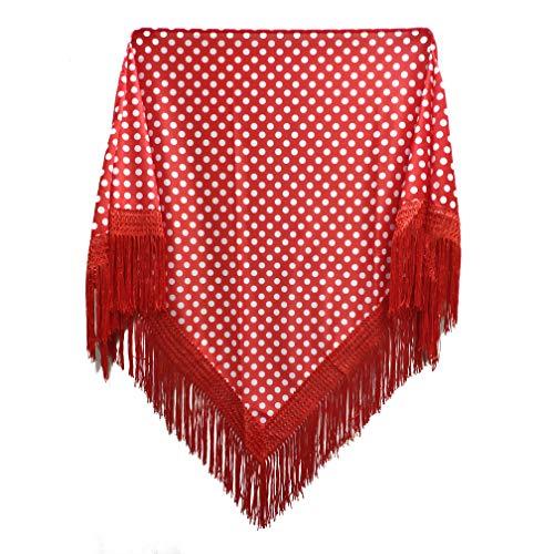 MUNDDY - Manton con Lunares Para Adulto. Mantones Flamenco Sevillana.Mantón para fiesta de Color Rojo Negro Rosa Blanco Azul. Envio desde madrid con seguimiento. (Rojo-blanco(lunar pequeña))