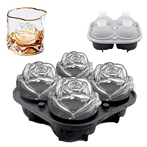 Stampo per ghiaccio rosa 3D,stampo per cubetti di ghiaccio in silicone grande vassoio per cubetti di ghiaccio in silicone,produce cubetti di ghiaccio a fiore di rosa da 4-2,5 pollici per whisky freddo