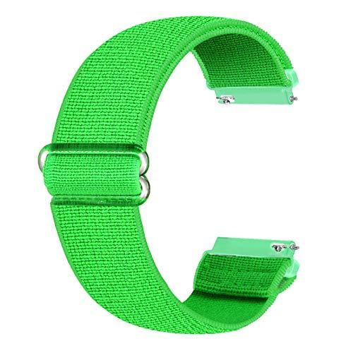 Ecogbd 20mm Correa de repuesto elástica compatible con Galaxy Watch Active / Active2 40 mm 44 mm / Garmin Vivoactive3, correas de nailon de tela suave para mujeres y hombres (verde)