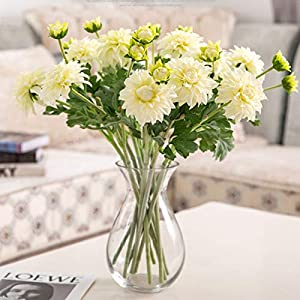 NUZYZ Multi-use Bright-Colored Artificial Dahlia Flower Fake Faux Silk Flower Simulation Display for Home Decoration White