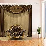 SRJ2018 Goldene Duschvorhang Luxus Europa Trpe Sofa Bad Wasserdichte Duschvorhang Set Mit 180X180 cm