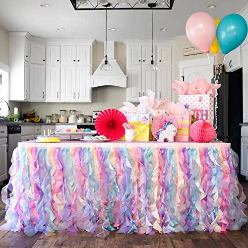 Bluekate Rainbow Party Tutu Table Skirt. 6ft Table Skirt with Double Layer Organza Willows for Unicorn Party Supplies, Rainbow Decorations, 1st Birthday Décor, Baby Shower Décor or Mermaid Backdrop