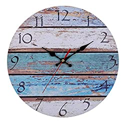 Familyhouse Vintage Rustic Wall Clock, Wooden Silent Non Ticking Quartz Battery Operated Shabby Beachy Ocean Paint Boards Nautical Decorative Clocks