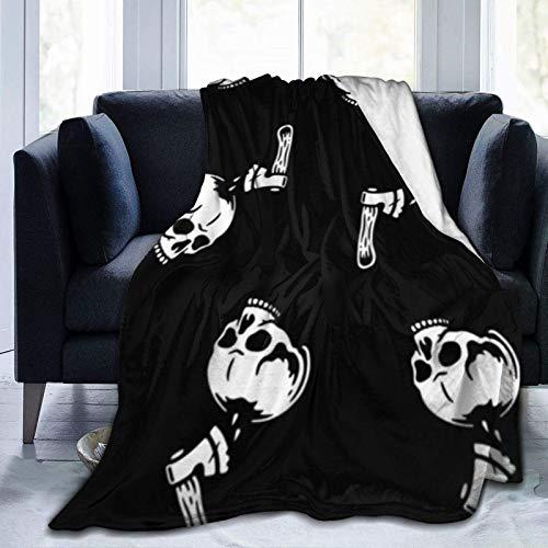 Skeleton Axe Man Home Manta Ultra Suave para Cama Forro Polar de Franela para Todas Las Estaciones Peso Ligero Sala de Estar/Coche/Viaje Manta c¨¢LIDA para ni?os Adultos 50 'x 40'