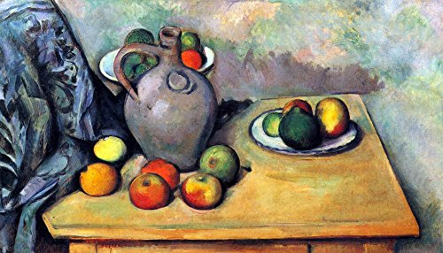 Das Museum Outlet–Stillleben, Krug und Früchte auf einem Tisch von Cezanne–Leinwand Print Online kaufen (76,2x 101,6cm)