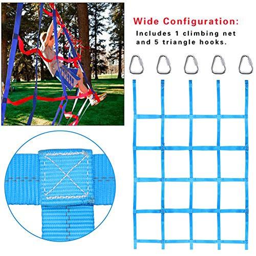 Kletternetz Kinder Schaukel Kletterwand mit 5 Haken Regenbogenband Robusten Schaukelnetz für Kinder Garten Indoor Outdoor, belastbar bis 250 kg, 145cmx185cm