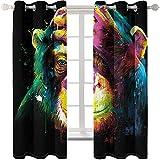 KYLN Orangután de Color 2 Cortinas Opacas Resistencia al Calor y la luz en el salón y el Dormitorio. 168X228cm(66x90IN)