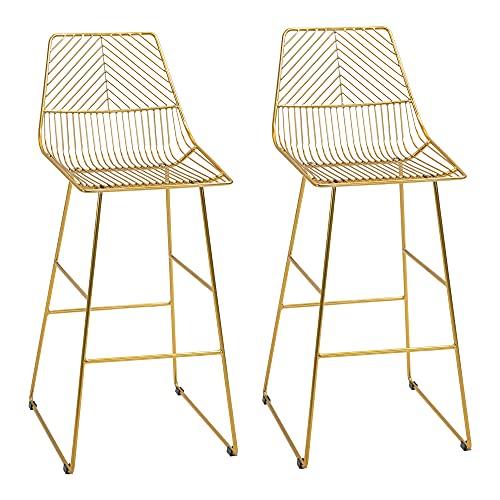 homcom Set da 2 Sgabelli Alti con Poggiapiedi, Sgabelli Moderni in Metallo per Casa e Bar, 53x56x110cm, Oro