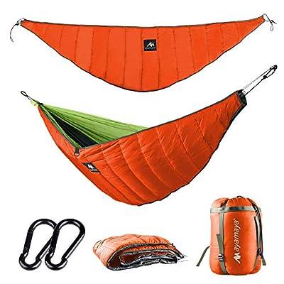 ayamaya Ultralight Hammock Underquilt for Camping Backpacking, 3 Season Under Quilt UQ for Single Person Hammock Warm Under Blanket Sleeping Bag Bottom Insulation - Hammock Camping Gear (Orange)