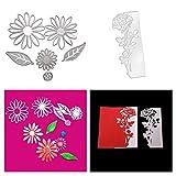 Meslio 2 Pieces Flower Shape Metal Cutting Dies, Embossing Dies Carbon Steel Die Cuts Stencils for DIY Scrapbooking Album Paper Card Making