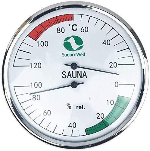 SudoreWell® Sauna Klimamesser Classic mit Thermometer + Hygrometer Ø130mm