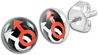 Gay Male Symbol Stud Earrings - Black, Red & White Symbols. Gay Pride Earrings Studs for Men. Gay Pride Jewelry. Gay Gift for Love, Equality, Bear Pride etc.