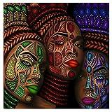 MULMF Tatuaje De Mujeres Étnicas Africanas | Cara, Lienzo De Pintura, Carteles E Impresiones, Imagen De Arte De La Pared Del Hogar, Decoración De La Pared Personalizada Sin Marco-1Pcs- 50X50Cm