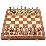 MNBV Juego de ajedrez de aleación de Nogal, ajedrez con Juego de Mesa Plegable para niños, Entrenamiento Mental Educativo, Juego de ajedrez para Principiantes para niños y Adultos