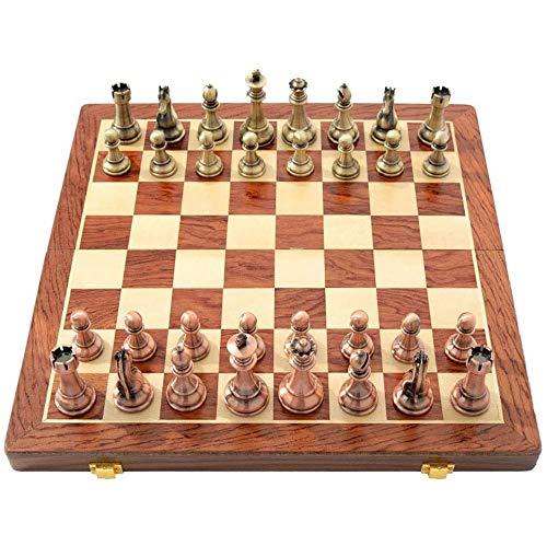 MNBV Juego de ajedrez, juego de ajedrez de madera/cuero con piezas de ajedrez, tabla de juego plegable con almacenamiento, ajedrez para juegos de viaje, juguetes de regalo de ajedrez (color: B)