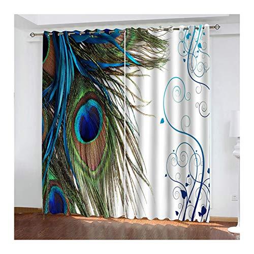 Knbob Polyester Vorhänge Grün Blau Pfauenfeder Vorhang Verdunkelung Thermo Fenster Größe 264x115CM