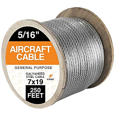 """7 x 19 Galvanized Steel Aircraft Cable Wire - 5/16"""" - 250' Reel - 9,800 lb Break Strength Rope for Pulley System or Winch Loop - Marine Wire, Cable/Deck Railing, Fencing, Zipline - Xpose Safety"""