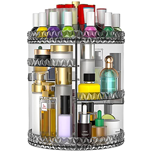 Makeup Organizer, 360 Degree Quiet Rotating DIY Adjustable Perfume Storage Rack Cosmetic Storage Display Case with Large Capacity, Fits Jewelry, Makeup Brushes, Lipsticks and More, gray…