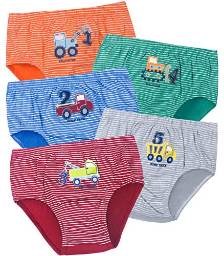 ORPAPA Jungen Unterwäsche Slips Kleinkind 5er Pack Kinder Auto Baumwolle Unterhose 2-3 Jahre