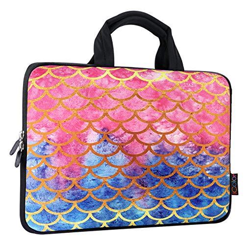 ICOLOR 11 11.6 12 12.1 12.5 inch Laptop Carrying Bag Chromebook Case Notebook Ultrabook Bag Tablet Cover Neoprene Laptop Sleeve case chromebook Sleeve with Handle Kids Girls Mermaid