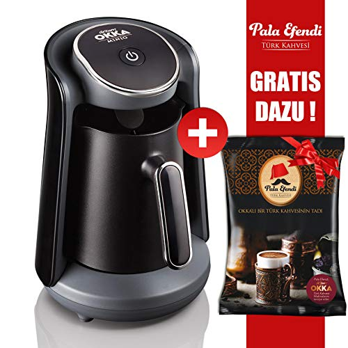 Arzum OKKA Minio Kaffeemaschine Schwarz Chrom + Pala Efendi Türk Kahvesi GRATIS DAZU