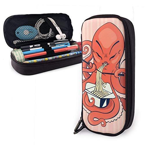 Pen Case,Cartoon Octopus Essen Asiatische Nudeln Pu Leder Bleistift Tasche, Super Pen Cases Für Schule Outdoor-Reisen,20x9x4cm