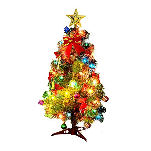 Christmas Tree Artificial Mini with Ornaments & 20 LED Lights, Classic Indoor Christmas Decoration, 30 45 60cm-30CM/1FT