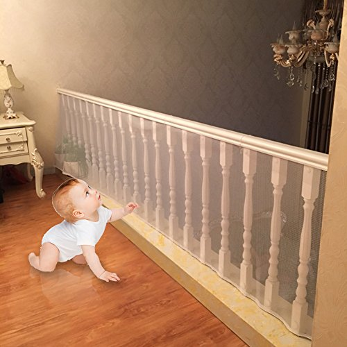 4UHeart Child Safety Net - 33'' x 15', Rail Balcony Banister Stair Net Safety for Kids Toys Pets, Safe for Indoor, Outdoor, Patios or Balcony Use (Upgrade)