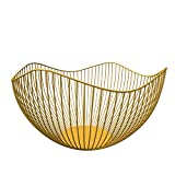 DMAR Wire Fruit Basket Yellow Fruit Bowl for Kitchen Counter Wave Fruit Basket Serving Bowl Wire Fruit Dish for Fruits and Veggies