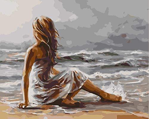 JCILZX Frau am Meer Malen nach Zahlen Kits mit Pinseln und Acrylpigment DIY Leinwandfarbe für Anfänger 40x50cm (Rahmenlos)