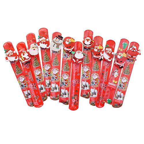 12 piezas de luces LED Santa Claus muñeco de nieve Navidad Slap pulsera círculo pulsera para niños niñas adultos Navidad fiesta adornos (estilos surtidos) unisex