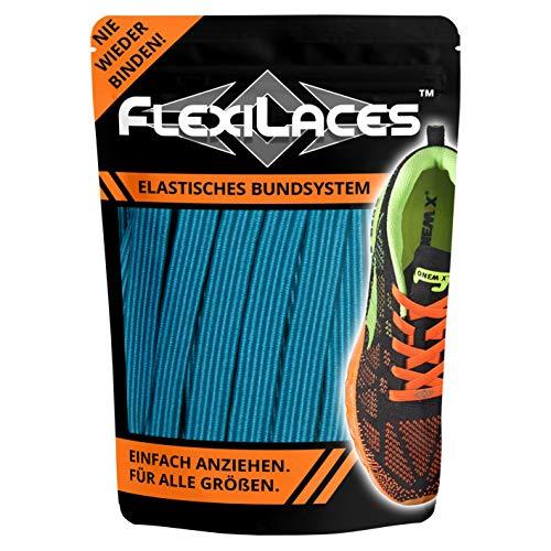 FLEXILACES - elastische Schnürsenkel   nie Wieder Schuhbänder binden - NEON BLAU