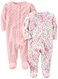 Simple Joys by Carter's Baby Girls' 2-Pack Cotton Footed Sleep and Play, Animals/Pink Dot, Preemie