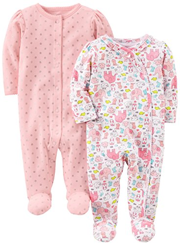 Simple Joys by Carter's Infant-and-Toddler-Sleepers, Animals/Pink Dot, 3-6 Meses