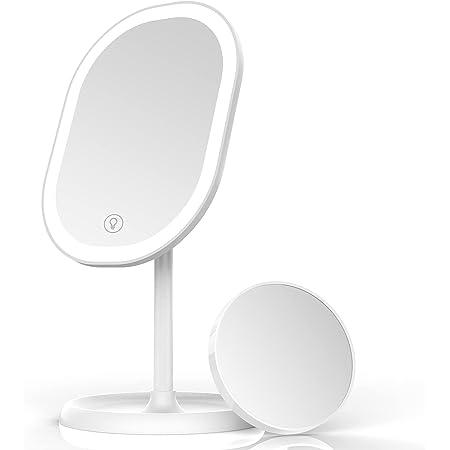 Aidodo Miroir à Maquillage LED, Miroir Grossissant 5X Détachable, Réglage d'Éclairage Smart und Recharge USB, Miroir de Table Pliable à 180 °, Cadeau Parfait pour Un Ami