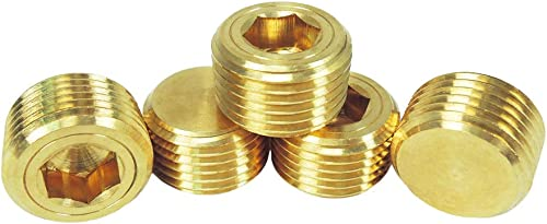 NIGO Industrial Co. JNS Brass Pipe Fitting, Hex Counter Sunk Plug, Male Pipe, Nominal Pipe Size: 1/2 Inch (Pack of 5)