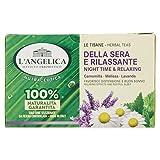 L'Angelica, Tisana Funzionale Calmante e Rilassante per Dormire a Base di Camomilla e Passiflora, Tisane con Effetto Distensivo, Vegan, Confezione da 20 Filtri