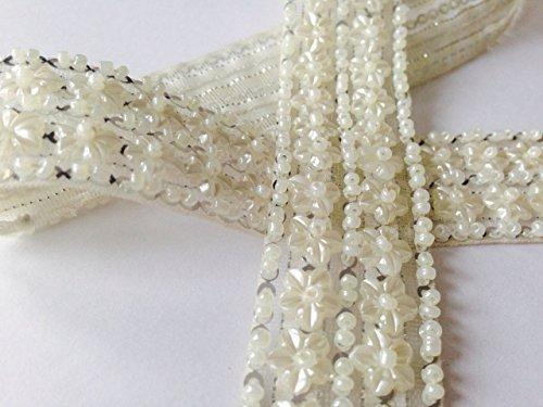1yard Ivoor Parel Kralen Applique Trim Bruids Kostuum accessoire/taart decoratie