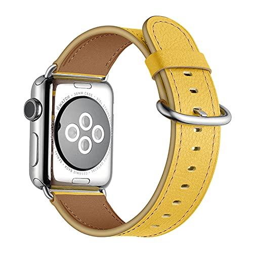 Correa Reloj para Apple Watch Series 1/2/3/4/5/6/SE, Compatible con iWatch Band 38mm 40mm 42mm 44mm con Hebilla de Acero Inoxidable, Hombre Mujer Cuero Genuino Correa de Reloj,Yellow,38mm/40mm
