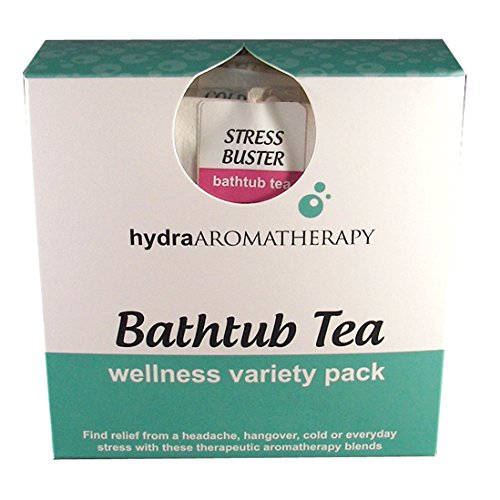 hydraAromatherapy Bathtub Tea-Wellness Variety Pack Cold & Flu Buster, Hangover Buster, Headache Buster and Stress Buster Bathtub Teas