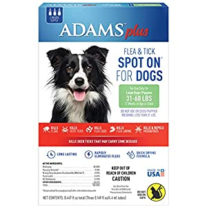 Adams Plus Flea and Tick Spot On for Dogs, Large Dog Flea Treatment, 31-60 Pounds, 3 Month Supply