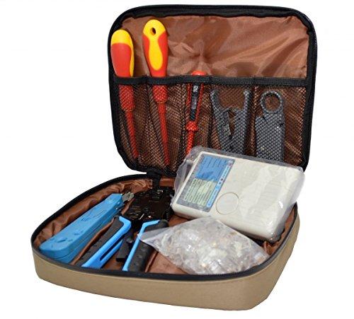 tsnetworks 9in1 Waterproof Professional Netzwerk Set mit Netzwerktester, Schraubendreher, Crimpzange, Abmantler, LSA + Werkzeug