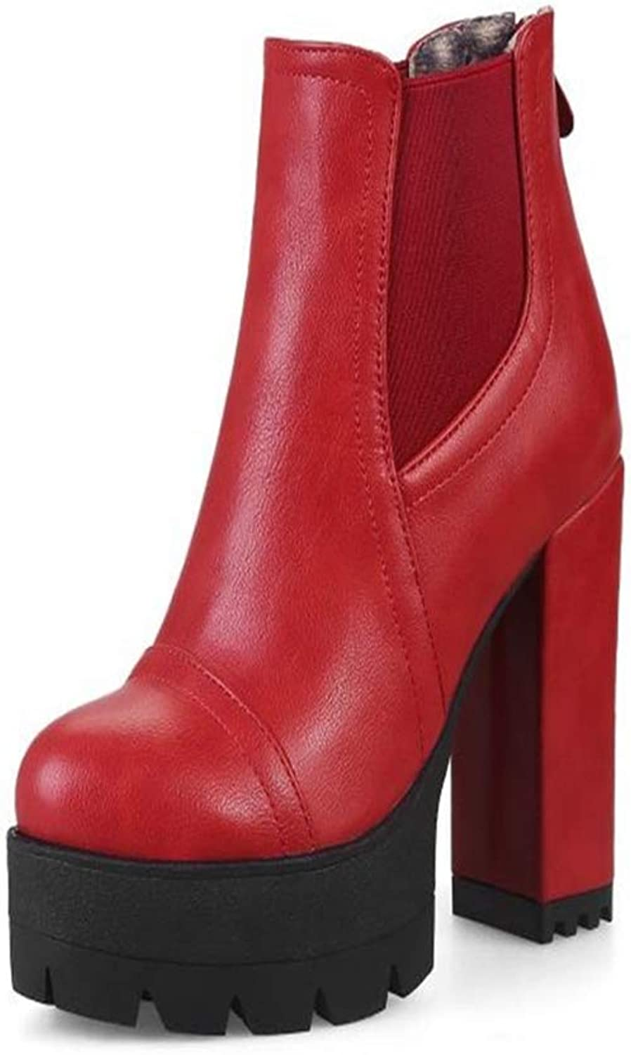 FORTUN High-Heeled Snow Boots, Elegant Thick Ankle Boots, Women's Martin Boots