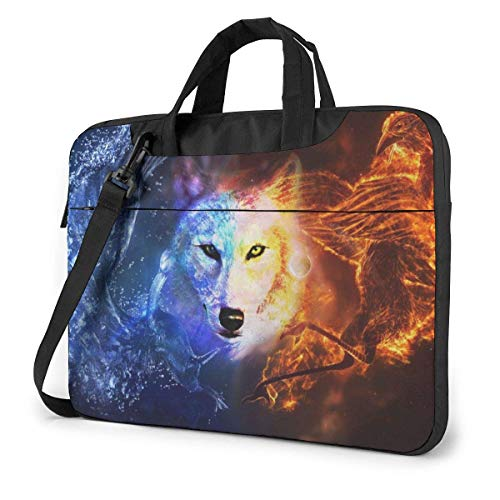 Ice Fire Wolf Waterproof Briefcase Sleeve Laptop Carrying Case Handbag with Strap
