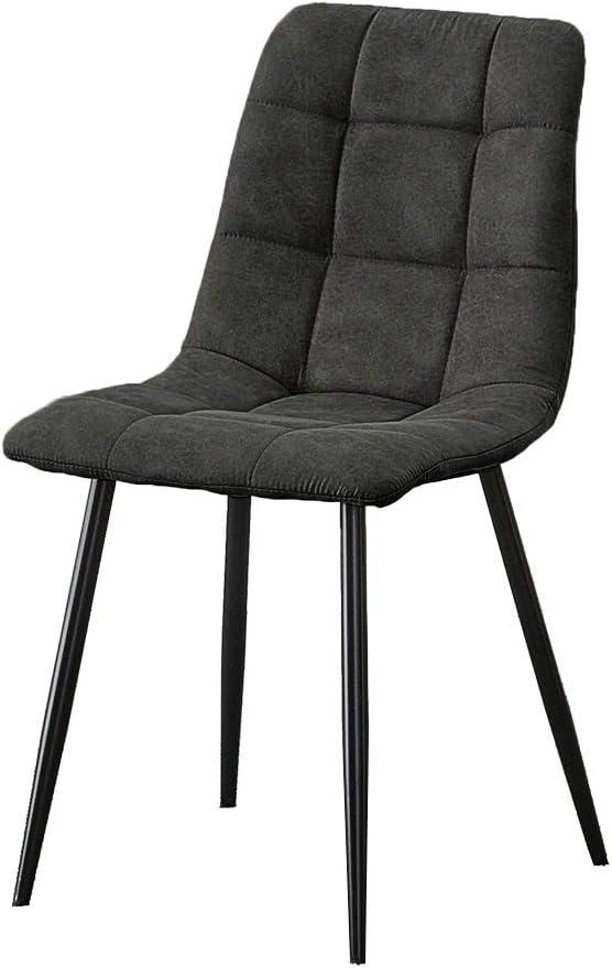 OFCASA 2 chaises de salle à manger en simili cuir gris avec pieds en métal rembourrés Assise de salon de cuisine d'angle pour salon, hôtel restaurant Lot de 2 Chaises Grises