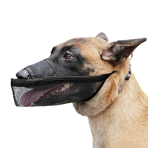 Timos Dog Muzzle for Small Medium Large Dogs, Air Mesh Breathable Drinkable Pet Muzzle for Anti-Biting Anti-Barking Licking Dog Mouth Cover