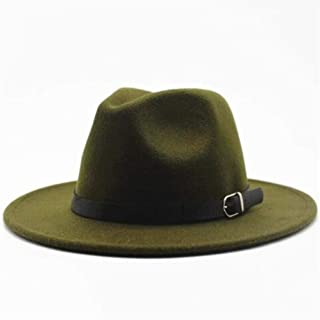 Bin Zhang Women Men Wool Fedora Hat With Leather Belt Party ChurchHat For Lady Fascinator Hat Autumn Casual Wild Hat Size 56-58CM