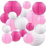 Farolillos de papel, 18 paquetes de 4 x 6 x 10 pulgadas, diseño chino redondo de papel para colgar decoraciones con varios colores y tamaños para cumpleaños, bodas, baby shower, festivales