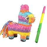 happygirr Piñata Colorida con Palo Piñata Burro para Colgar 40cm de Alto Decoración de Fiesta para llenar de Dulces Idea de Regalo para Fiesta de cumpleaños